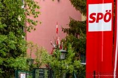 SPÖ Fahne 1. Mai beim VH Gugging