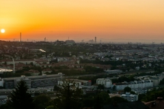 Sonnenaufgang über dem Rapid Stadion