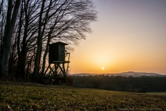 Sonnenuntergang mit Hochstand